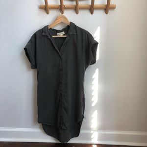 Anthro CLOTH & STONE Gray Button Down Shirt Dress